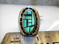 Heavy $750 Mens Pinky Ring Turquoise Firey Black Opal 8 Kingsman20 Grams