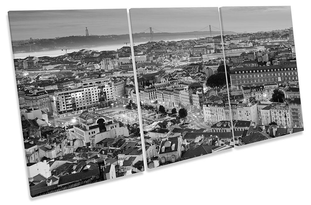 Lisbona Portogallo Portogallo Portogallo Skyline B&W incorniciato tela stampa Treble Wall Art a5eb29