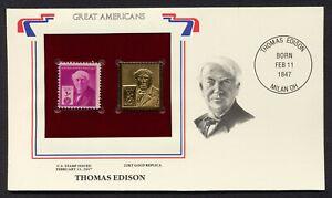 #947 3c Thomas Edison, Dorado Réplica Cualquier 5=