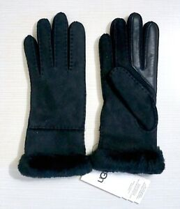 NWT-155-UGG-Exposed-Slim-Tech-Sheepskin-Trimmed-Suede-Leather-Gloves-Black-M