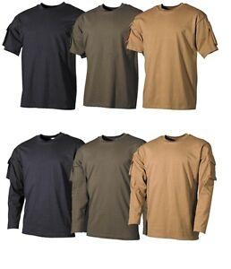 Army-Shirt-T-Shirt-Armeltaschen-kurz-o-langarm-schwarz-oliv-o-sand-Sweatshirt