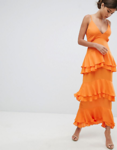 Missguided-Orange-Strappy-Ruffled-Tiered-Maxi-Dress-Size-6-10