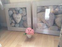 Set Of Two Bathroom Heart White Grey Pebble Love Pictures Canvas Wall Art