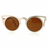 Round Cateye Sunglasses Metal Frame Super Cute Women's Eyewear