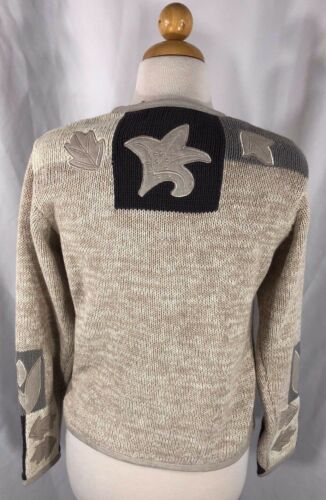 Small Sweater Orvis Cardigan Blend Leaf Applique Knit Cotton Beige Embroidery w4q0F