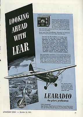 1945 Lear Aviation Ad Radio Receiver Aeronca Chief Private Airplane Personal