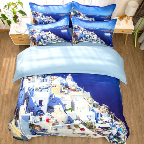 Beautiful Greece Aegean Sea Pattern Bedding Duvet Cover Set+Pillow Case US AU EU