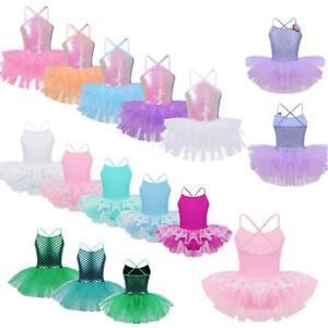 Girls-Sequins-Leotard-Dress-Ballet-Dance-Gymnastic-Tutu-Skirt-Dancewear-Costume