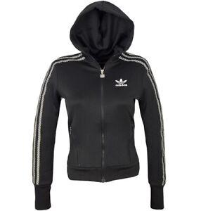 Details about Adidas Womens Track Jacket Trefoil Hooded Jacket Hoodie  Firebird Logo Black- show original title