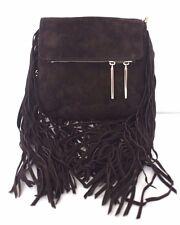 Karen Millen Brown Cross Body Fringe Suede Leather Shoulder Chain Cross Hand Bag