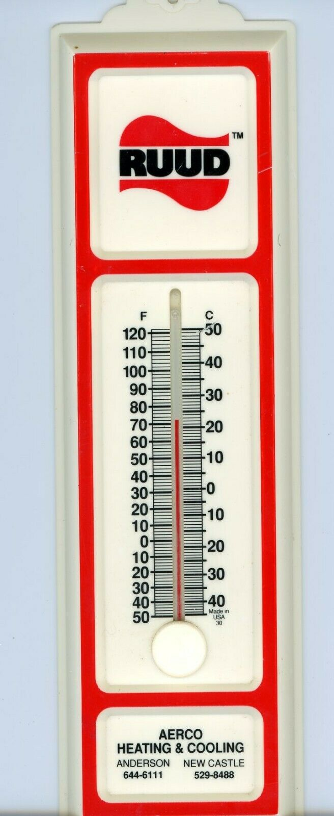 Morco Ruud Thermometer Aerco Heating & Cooling Made Usa Wall Outdoor Indoor