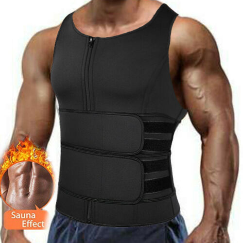 Sauna Suit Tank Top For Men Workout Vest Sweat Neoprene Body Shaper Shirt Gym