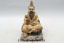 "7"" Old China bronze 24k gold High Lord Laojun Taishanglaojun God Buddha Statue"