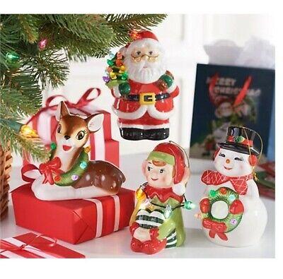 Nib Mr Christmas 4 Set Nostalgic Holiday Ornaments Santa Reindeer Elf Reindeer Ebay