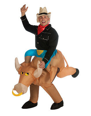 Inflatable Bull Rider Costume Cowboy Western Rodeo Cow Boy Hat Scarf Mens Adults
