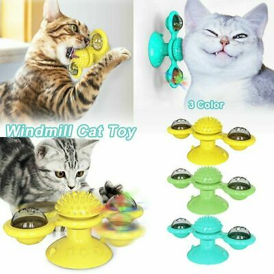 Built-in Rotating LED Light Pet Toy Scratching Tickle Funny Teasing Suction Cup Base Can Be Used in Any Place Cat Toy Turntable Interactive Training Windmill Ball With Scratching Cat Hair Brush