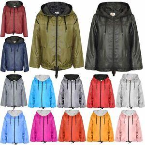 Kids Girls Boys Red Hooded Raincoats Cagoule Lightweight Jacket Rain Mac 5-13 Yr