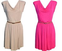 Ladies Womens Cerise Beige Sleeveless Skater Dress With Belt Party Club.8 - 14