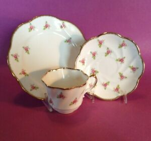 Salisbury-Dessert-Set-Cup-Saucer-And-Plate-Pink-Roses-Bone-China-England