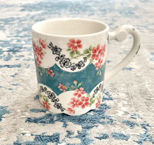 NEW Anthropologie Scalloped Floral Ceramic Coffee Tea Mug Aesthetic Vintage Styl