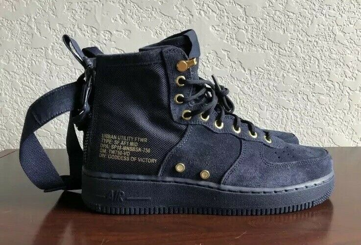Nike SF Air Force 1 Mid Obsidian obsidian 917753-400 Mens Size 8 Boot