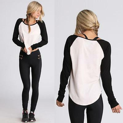Women's Classic Long Sleeve Colorblocked Baseball T-Shirt Blouse Black White HY