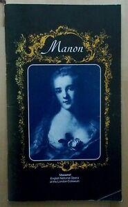 Manon programme English National Opera ENO 1982 Valerie Masterson Stuart Kale