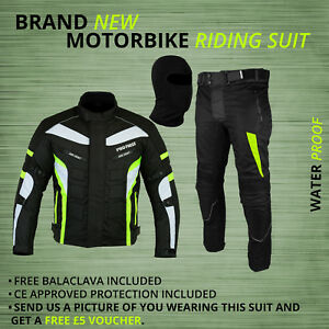 Motorbike-Mens-Jacket-Waterproof-Textile-Cordura-pant-Trouser-Motorcycle-suit