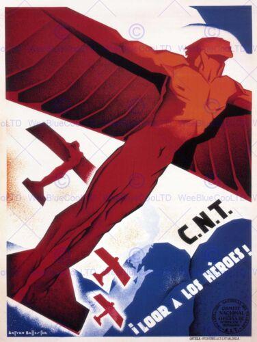 WAR SPANISH CIVIL CNT COMMUNIST HEROES SPAIN VINTAGE ADVERTISING POSTER 2787PY