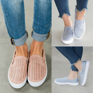 Womens-Casual-Comfort-Canvas-Shoes-Plimsolls-Pump-Flats-Slip-On-Loafers-Sneakers