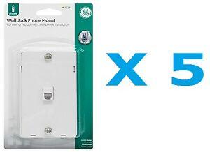 GE PhoneJack Wall Mount phone Outlet 6-Wire Conductor RJ11 RJ12 White- Pack of 5
