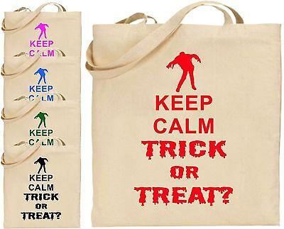 Keep Calm Trick/Süßes groß Baumwolle Halloween Tragetasche Gespenstisch