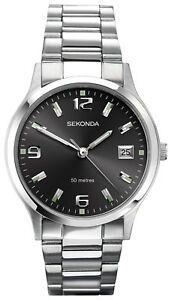 Sekonda-Men-039-s-Dark-Grey-Dial-Stainless-Steel-Braclet-Watch