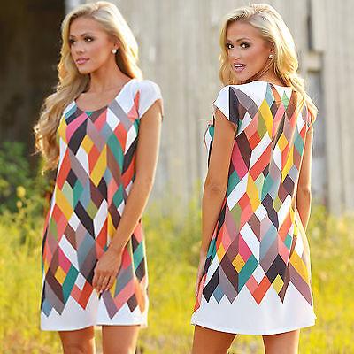 New Women Summer Casual Tunic Shift Dress Color Block Short Sleeve A Line Dress