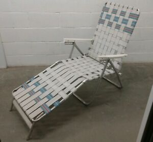 Details about Vintage Web Folding Aluminum Beach Chair Lounge