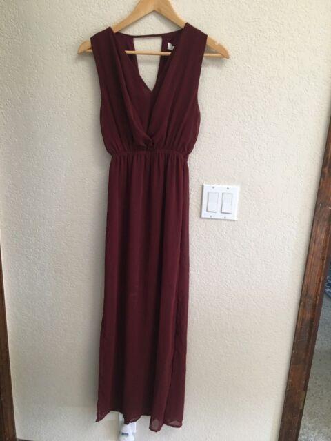Lumiere Wine Maxi Dress With Half Slip Dress Size S Nwt List 44