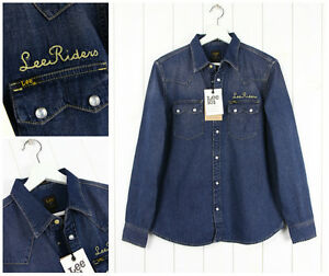 NUOVO-Lee-101-RIDER-DENIM-CAMICIA-JAPANESES-tessuto-blu-scuro-Sega-DENTI-M-MEDIA