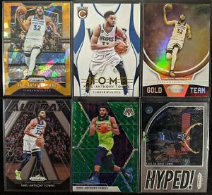 Lot-of-6-Karl-Anthony-Towns-Including-Prizm-orange-ice-Mosaic-amp-more-inserts