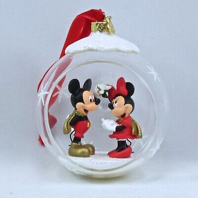 DISNEY STORE Minnie /& Mickey 2018 Glass Drop Christmas Sketchbook Ornament NIB