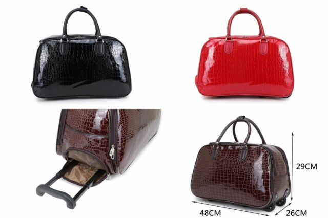 WOMEN LADIES LUGGAGE FAUX PATENT CROC LEATHER HOLDALL TROLLEY WEEKEND TRAVEL BAG