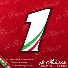 Adesivo Stickers NUMERO 1 moto auto cross gara Bianco & Tricolore 5 cm
