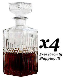 4-x-LIQUOR-WHISKEY-DECANTER-VINTAGE-GLASS-CRYSTAL-BOTTLE-WINE-STOPPER-BAR-SCOTCH