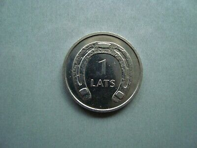 "2010 Latvia 1 Lats Uncirculated Coin /""Horseshoe/"" Turned Down"