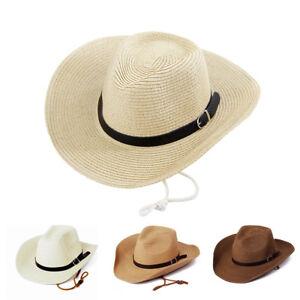 52eb0bddd Details about Men Straw Panama Hats Sombrero Cap Western Cowboy Beach Wide  Brim Sunhat Fedora