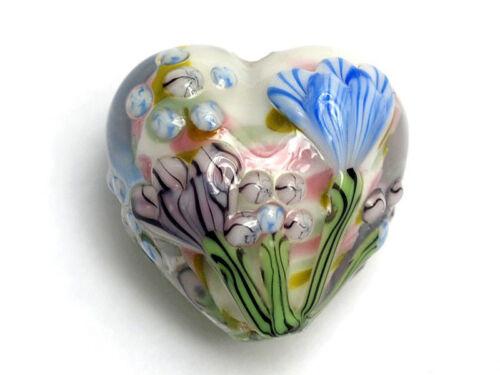 GL000 Premium Lampwork Artist Heart Bead 18x12mm *UK  SHOP*