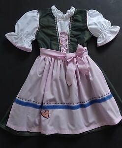 New German Bavarian Girls Dirndl Dress + Apron 5-6 years