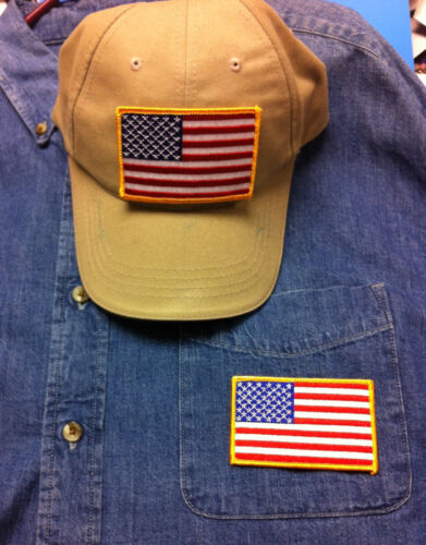 "USA FLAG EMBROIDERED PATCH ! EAGLE CLAW ORIGINAL ""USA FLAG"" FISH HOOK HAT PIN"