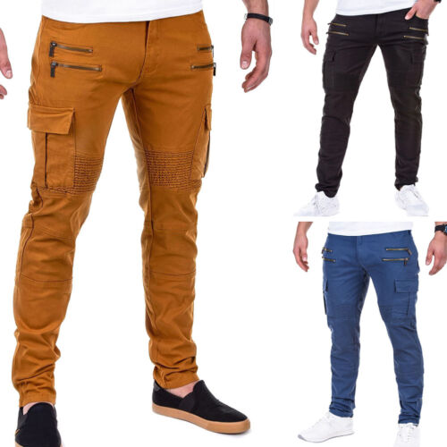 Biker Uomo Chino Slim Fit Jeans Pantaloni Jeans A Sigaretta Blu Chino Pants Nero Nuovo