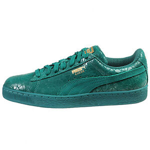 Image is loading Puma-Suede-Crackle-Mens-361858-01-Parasailing-Green-