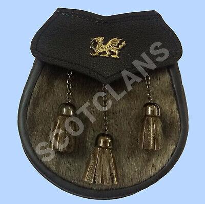 Highland Kilt Lo Sporran Semi Dress Seal Pelle Antico Drago Gallese-mostra Il Titolo Originale Prezzo Ragionevole